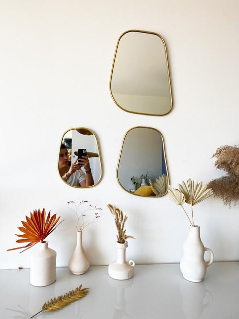 Série 3 miroirs Laiton Trapèze