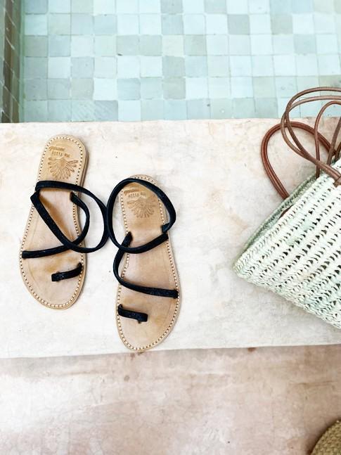 Sandale ROMANE Noire Pailletée