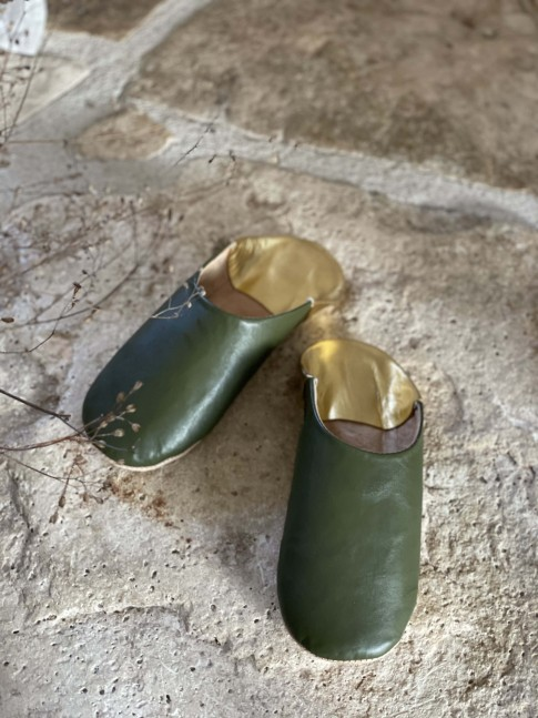 Babouche Vert / Doré